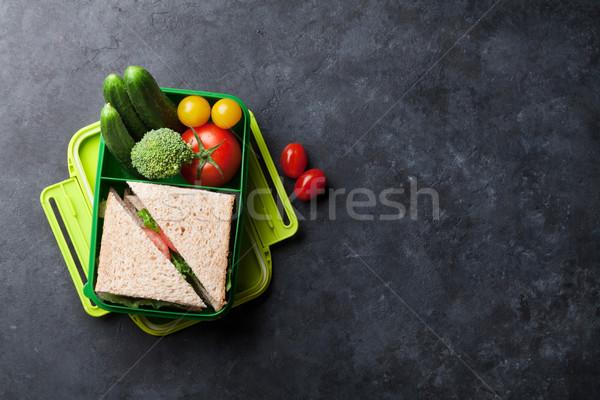 ストックフォト: ランチ · ボックス · 野菜 · サンドイッチ · 石 · 表