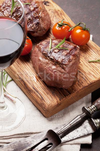 Grilled fillet steak with wine Stock photo © karandaev