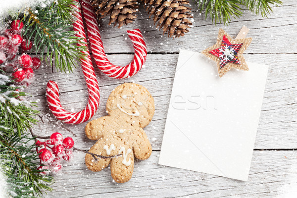 Natale photo frame pan di zenzero cookie neve Foto d'archivio © karandaev