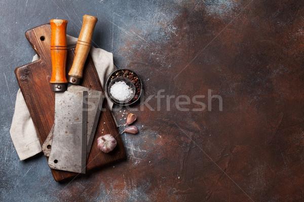 Klasszikus hús kések fűszer hentes vágódeszka Stock fotó © karandaev