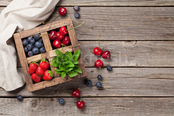Fresh summer berries box Stock photo © karandaev