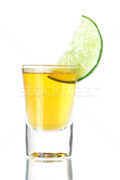 Gold Tequila with lime slice Stock photo © karandaev