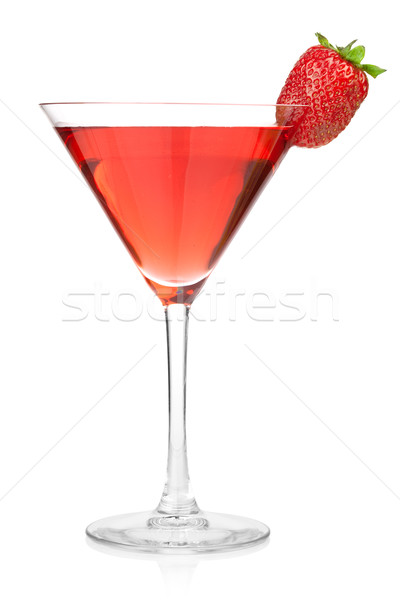 Stockfoto: Aardbei · alcohol · cocktail · martini · glas · geïsoleerd · witte