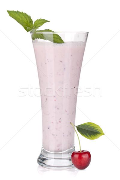 Cerise lait smoothie menthe isolé blanche Photo stock © karandaev