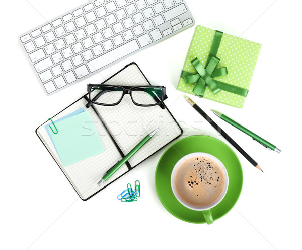 Coffee cup, office supplies and gift box Stock photo © karandaev
