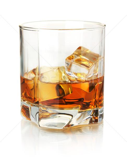 Whiskey üveg izolált fehér tükröződés buli Stock fotó © karandaev