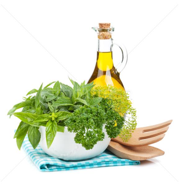 Foto stock: Fresco · ervas · tigela · azeite · cozinha · utensílios