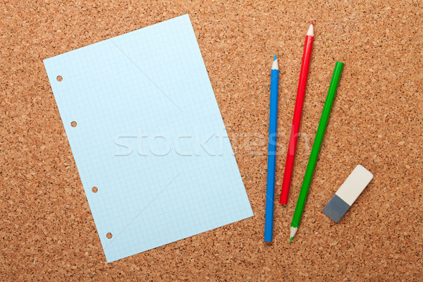 Blank notepad page on cork notice board Stock photo © karandaev