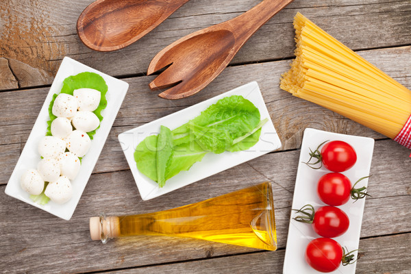 Foto stock: Tomates · mozzarella · pasta · verde · ensalada · hojas