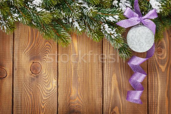 Natal bugiganga roxo fita rústico Foto stock © karandaev