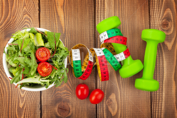Fita métrica alimentação saudável fitness saúde mesa de madeira comida Foto stock © karandaev