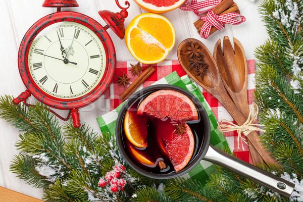 Christmas mulled wine and fir tree Stock photo © karandaev
