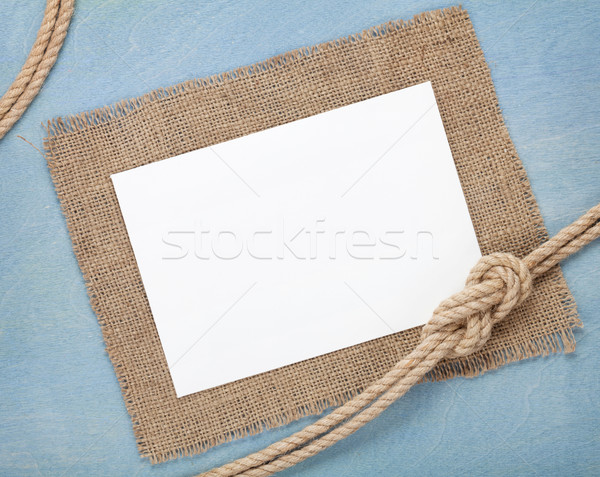 Stock photo: Blank paper card with ship rope