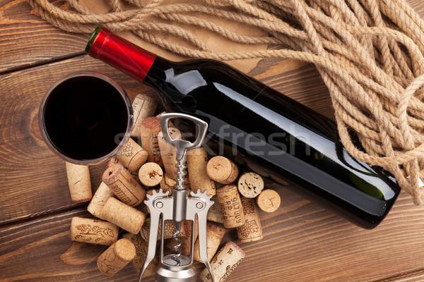 бутылку стекла штопор деревенский Сток-фото © karandaev