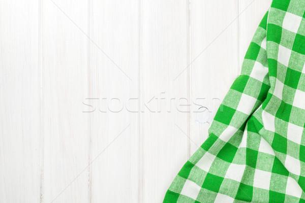 Groene handdoek houten keukentafel exemplaar ruimte Stockfoto © karandaev