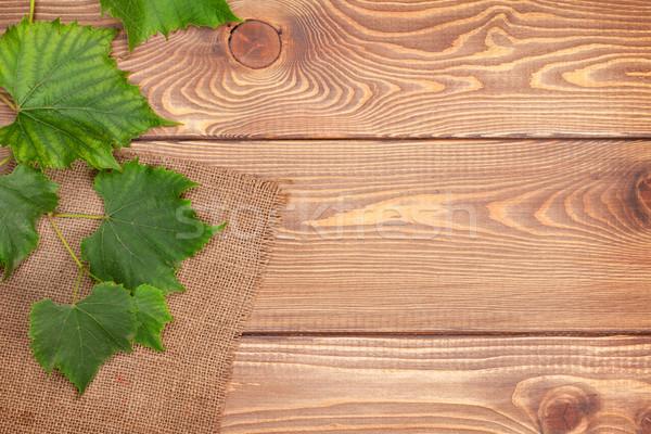 Szőlő szőlő fa asztal copy space bor levél Stock fotó © karandaev