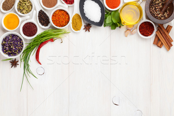 Various spices on white wooden background Stock photo © karandaev