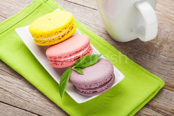 красочный macaron Cookies Кубок молоко деревянный стол Сток-фото © karandaev