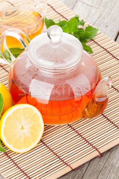 緑茶 レモン ミント 木製のテーブル 水 背景 ストックフォト © karandaev