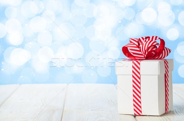 Natale scatola regalo tavolo in legno bokeh copia spazio cielo Foto d'archivio © karandaev
