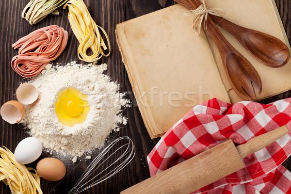 Vintage рецепт книга Ингредиенты приготовления Сток-фото © karandaev