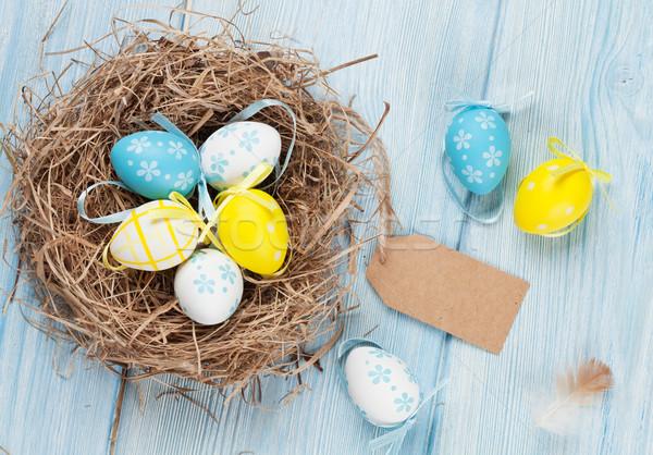 Pasqua carta uova nido legno top Foto d'archivio © karandaev