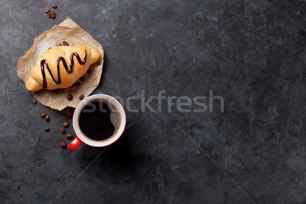Fresh croissant and coffee Stock photo © karandaev