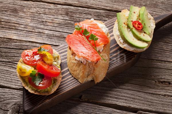 Foto stock: Brindis · aguacate · tomates · salmón