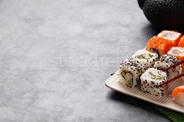 Foto d'archivio: Set · sushi · maki · tè · verde · pietra · tavola