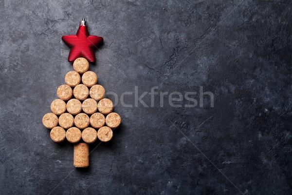 ワイン クリスマスツリー 石 表 先頭 ストックフォト © karandaev