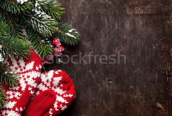 Karácsony fenyőfa ujjatlan kesztyűk öreg fából készült textúra Stock fotó © karandaev