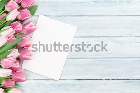 Pâques carte de vœux rose tulipes bois espace Photo stock © karandaev