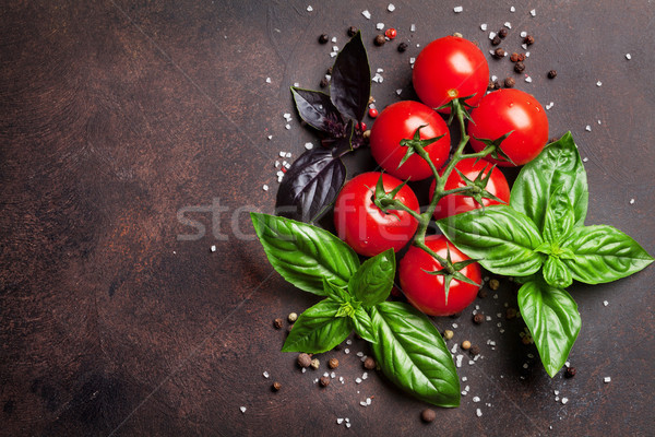 Cucina italiana pomodoro basilico pietra tavola top Foto d'archivio © karandaev