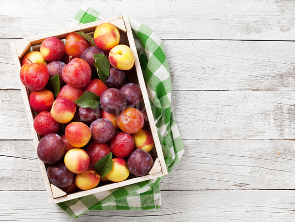 Fresh peaches and plums Stock photo © karandaev