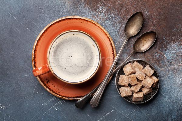 Taza de café azúcar moreno superior vista alimentos café Foto stock © karandaev