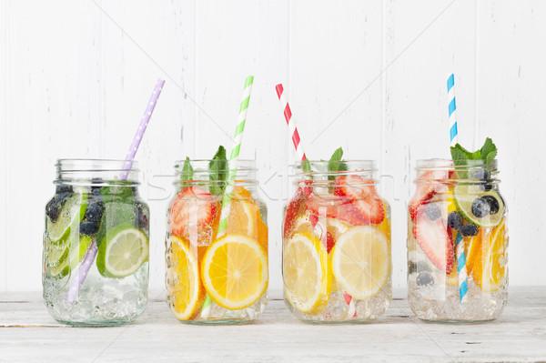 Foto d'archivio: Fresche · limonata · estate · frutti · frutti · di · bosco · jar