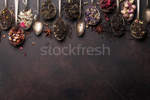 Különböző tea kanalak fekete zöld piros Stock fotó © karandaev