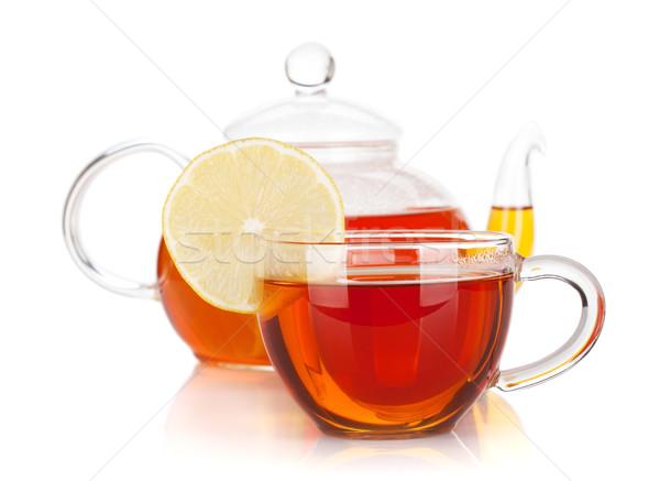 Verre tasse théière noir thé Photo stock © karandaev