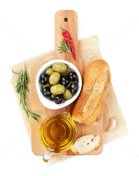 Stockfoto: Italiaans · eten · voorgerechten · olijven · brood · olijfolie · specerijen