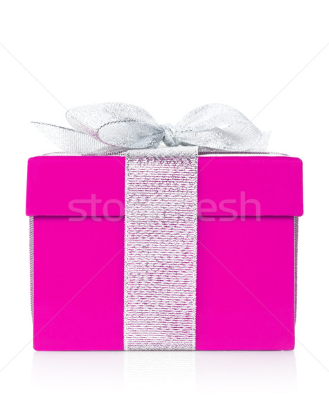 Purple gift box with silver ribbon and bow Stock photo © karandaev