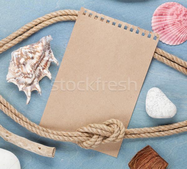 Piece of paper and sea stuff Stock photo © karandaev