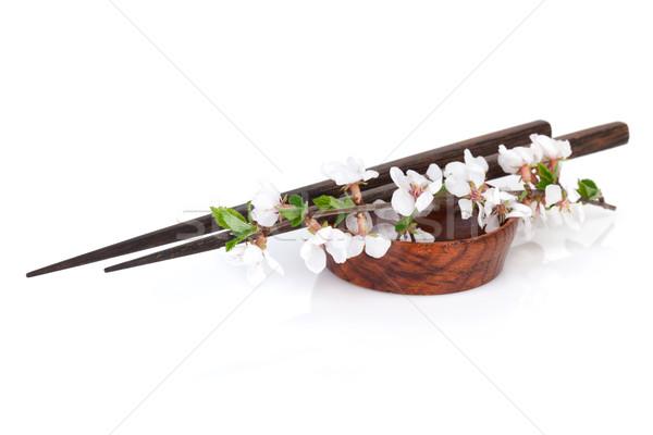 Eetstokjes sakura tak sojasaus kom geïsoleerd Stockfoto © karandaev