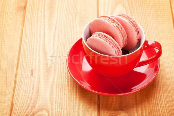 розовый macaron Cookies чашку кофе деревянный стол торт Сток-фото © karandaev