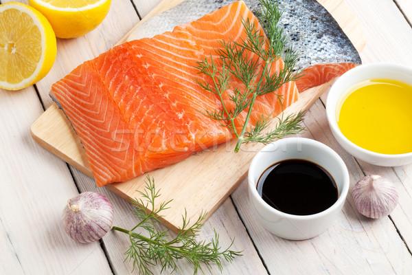 łososia przyprawy przyprawy drewniany stół ryb oleju Zdjęcia stock © karandaev