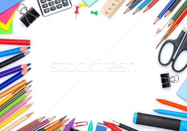 Iskola irodaszerek felső kilátás izolált fehér Stock fotó © karandaev