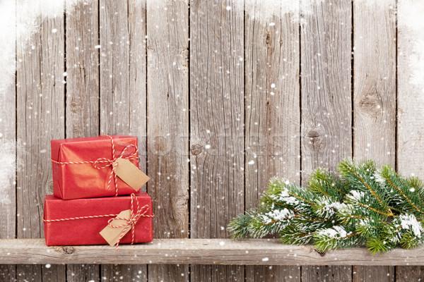 Stok fotoğraf: Noel · hediye · kutuları · oyuncak · ahşap · duvar