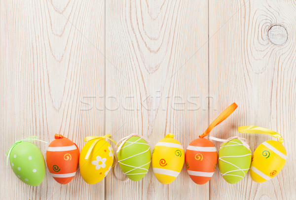 Easter background with colorful eggs Stock photo © karandaev