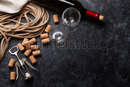 Wine, corks and corkscrew Stock photo © karandaev