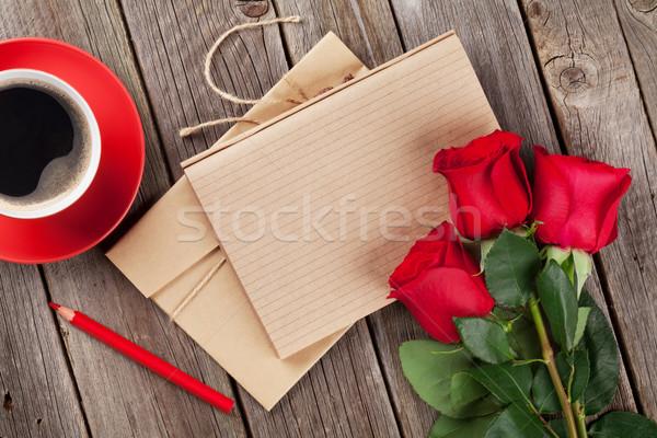 ストックフォト: 愛 · 手紙 · 帳 · 赤いバラ · コーヒーカップ · 木製のテーブル