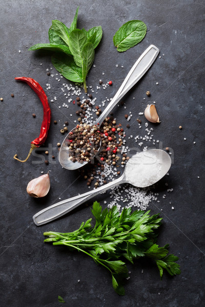 Peper zout specerijen mint peterselie kruiden Stockfoto © karandaev